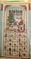Counted Cross Stitch Christmas Bucilla Kit Started Not Finished toy shop 12x24.5