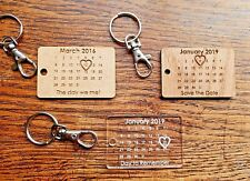 Laser Cut Engraved MDF Oak or Acrylic - Save The Date Personalised Keyring Gift