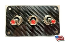 Carbon Fiber 3 Toggle Switch Panel - Red LED
