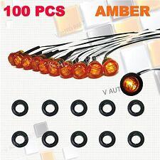 """100X Mini 12V DC Amber 3/4"""" Round Side 3 LED Marker Trailer Truck Bullet Light"""