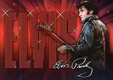 Elvis Presley With Guitar & Leather Jacket, Printed White Signature -- Postcard