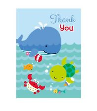 """8 """"UNDER THE SEA PALS"""" Baby Shower 1st Birthday Party Supplies THANK YOU NOTES"""