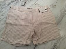 Dalia Cotton Linen White Shorts With Beige Stripe New NWT Size 4