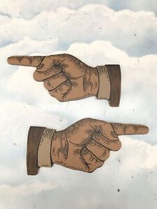 Pair MDF Pointy Hands Vintage Style Circus Illustration Left & Right CR TW