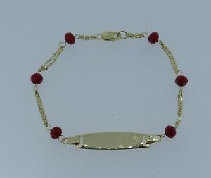 """14k Yellow Gold 5 3/4"""" Red Coral Beaded Blank ID Bracelet - 1.88 Grams"""