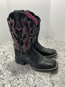 Ariat Womens Tombstone Sz 8 B Western Boots Black and Pink Mid Square Toe