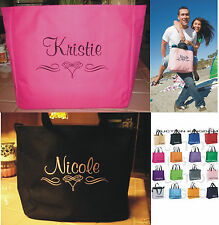 9 WEDDING TOTE Bag personalized BRIDESMAID SCROLL BRIDAL LOVELY GIFT BRIDE TEAM