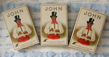 3 uralte John Cigarettenschachteln aus Pappe mit tollem Cover Schwarzer Dandy