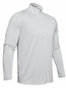 Under Armour Mens Half Zip Top, UA HeatGear Tech 2.0 Golf Pullover, Black / Grey