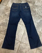 Carhartt Womens Blue Jeans Relaxed Fit 1Straight Leg Pants Size 12 Long Stretch
