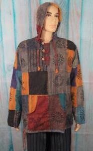 Fair Trade Cotton Hippy Hoodie Festival Surf Jerga Style Hippie Top Jacket XL