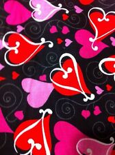 Looped Hearts on Black Cotton Fabric/Sewing Craft supplies/Apparel Fabric/Quilt