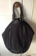 Gorgeous TEXIER Black Leather & Nylon slouch Bag + Many Compartments