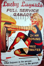 WEATHERED LUCKY LUGNUTS TOWING BUILDING STORE DIORAMA LAYOUT SIGN 3x2 DD77