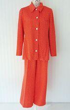 1970s Kimberly 2 pc Pants & Top Set 100% polyester knit polka dot orange Velma