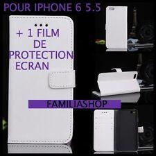 Housse étui pochette coque rabat clapet BLANC simili cuir iphone 6 5.5 + 1 film