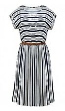 Tu New Womens White Navy Striped Button Detail Summer Dress With Belt 8 to 18