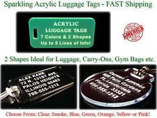 Custom Engraved ACRYLIC Plastic LUGGAGE ID TAGS Personalized Identification Tag