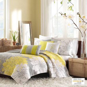 BEAUTIFUL CHIC YELLOW WHITE SOFT GREY LEAF SHABBY FLOWER LEAVES SOFT QUILT SET