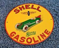 VINTAGE SHELL GREEN STREAK GASOLINE RACE CAR PORCELAIN LOOKING METAL AD SIGN