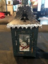Metal Candle Holder Lantern With Hand Painted Snowman Decorations, Winter, Snow