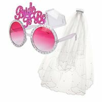 BRIDE TO BE GLASSES & VEIL HEN DO NIGHT PARTY ACCESSORIES BACHELORETTE FREE PP!