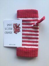 100% PURO CASHMERE Strawberry Pink & White a Righe da polso più caldi guanti da sci NUOVO CON ETICHETTA