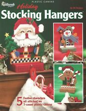 Holiday Stocking Hangers Plastic Canvas Patterns Santa Gingerbread Snowman Angel