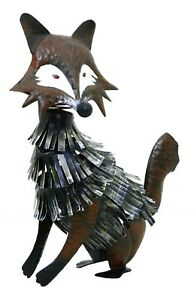 Fox Seated Metal Garden Ornament Hand-Painted Figurine Sculpture Decoration
