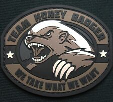 TEAM HONEY BADGER 3D RUBBER PVC US ARMY ISAF MORALE MILSPEC SWAT HOOK PATCH