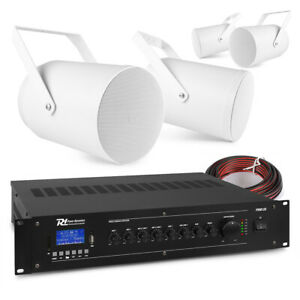 Sound Projector Speakers with 100v 5 Channel Mixer Amplifier PA System (4x PSP6)