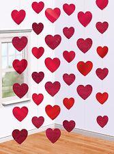6 Girlanden Rote Herzen Hochzeit Deko Party Herz Hänge Dekoration