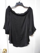 NWT Women's JENNIFER LOPEZ Black Off-Shoulder Blouse Size Large - MSRP $48