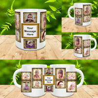 PERSONALISED MUG 10 PHOTO COLLAGE ADD TEXT CUSTOM DESIGN GIFT TEA COFFEE CUP v2