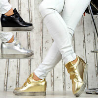 Neu Damen Sneaker Keilabsatz Wedges Klettverschluss Glitzer Damenschuhe
