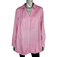 Avenue Womens Collared Top Plus Size 18W 20W V-Neck Button Up Long Sleeve Cotton