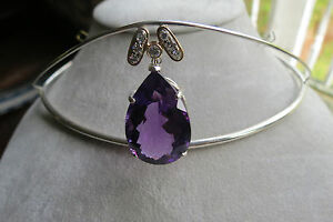 Estate Designer Custom 29 ct  Amethyst & diamond 14k white gold & Silver Tiara