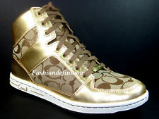 New Coach Signature NORRA Khaki Gold Women Boots Sneakers Sports Shoes Flats 8.5