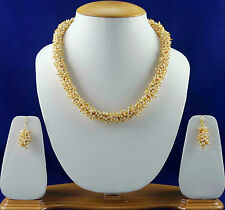 Bollywood White Pearl Necklace Earrings Bridal Jewellery Set Free Shipping SSC40