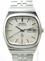 SEIKO KING QUARTZ 5856-5010 DAY-DATE SILVER MEN'S VINTAGE WATCH JAPAN