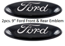 2004 - 2014 FORD F-150 BLACK OVAL FRONT GRILLE & REAR TAIL GATE 9 INCH LOGO PAIR