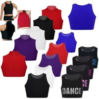 Girls Dance Crop Top Sleeveless Vest Tops Camisole Ballet Gym Sport Vest Summer