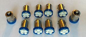 10 Mercury *BRIGHT* Blue 12V LED Instrument Panel BA9S 1815 Light Bulbs 1895 NOS
