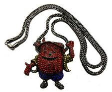 "NEW ICED OUT KOOL AID PENDANT 4mm/36"" FRANCO CHAIN NECKLACE XP500"