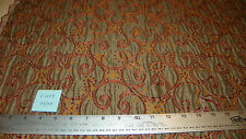 Taupe Rust Gold Print Jacquard Upholstery Fabric Remnant  F1009