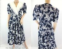 Vintage 1980s Navy Blue & White Wrap Style Summer Dress Lace Collar - Size 10UK