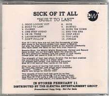 SICK OF IT ALL: BUILT TO LAST RARE HTF ADVANCE PROMO CD! MINT!