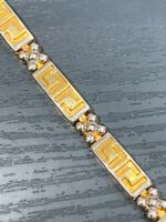 Ladies Women's Vintage gold And Silver Tone Interesting link Bracelet Box Clasp