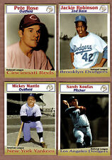 Miller Press lot of 4 rare cards: Mantle/Rose/Koufax/Jackie Robinson