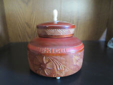 Turned Tropical Carved ROUND WOOD TRINKET BOX Inlay Polished Detailed MEXICO